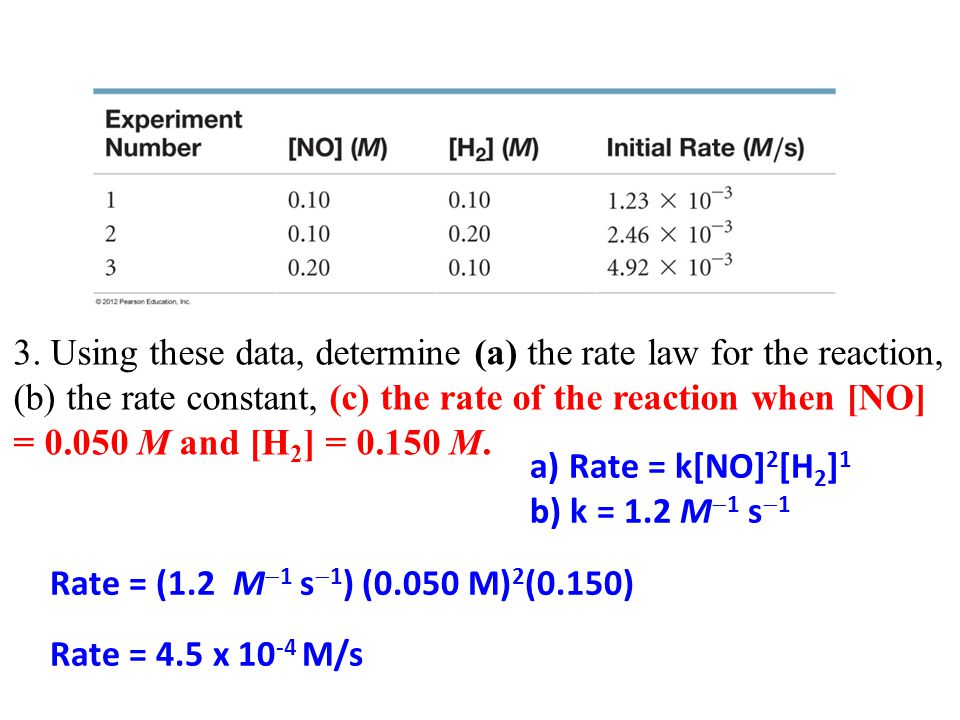 3. Using these data, determine (a) the rate law for the reaction, (b) the rate constant, (c) the rate of the reaction when [NO] = 0.050 M and [H2] = 0.150 M.